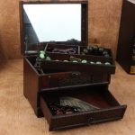 Vintage Storage <b>Jewelry</b> Box Cosmetic Organizer Box with Mirror Wooden Organizador Chinese Retro <b>Antique</b> Case for Women with Hand
