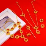 Ethiopian African Wedding New Cross Necklace Earrings Ring Bracelet Hairpin Hair Chain <b>Accessory</b> <b>Jewelry</b> Sets