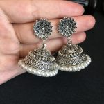 India Bollywood Luxuriant jhumki Earrings Handmade <b>Antique</b> Silver Tribal Artificial pearls <b>Jewelry</b> Hippie Wind Dubai Thailand