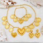 2018 Fashion Gold <b>Jewelry</b> Love Heart Shape Necklace Bracelet Earrings Ring Africa Charm Bride Wedding <b>Accessories</b>