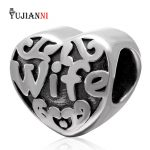 Love Wife Charms <b>Antique</b> 925 Sterling Silver Heart Beads DIY <b>Jewelry</b> Making For European Woman Snake Chain Bracelets