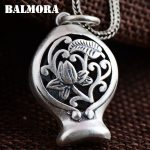 BALMORA 990 Pure Silver Hollow Flower Pendants for Women Lover Vintage <b>Jewelry</b> Pendant <b>Accessories</b> Gift Without a Chain SY12984
