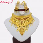 Adixyn Dubai Rope Chain/Earrings <b>Jewelry</b> Set Women Gold Colorful Flowers <b>Jewelry</b> Ethiopian/African Wedding <b>Accessory</b> N03162