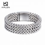 Kalen 21cm Fashion Stainless Steel Link Chain Bracelets For Men High Polished Mesh Bracelets Homme Party <b>Jewelry</b> <b>Accessories</b>