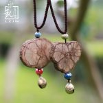 LZJN Long Bohemian Rope Chain Ceramic Beads Wood Grain Bell Pendant Necklace for Women Vintage <b>Accessories</b> Ethnic Retro <b>Jewelry</b>