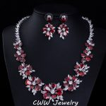 CWWZircons 2018 New Fashion Bridal Wedding <b>Accessories</b> White Gold Color Red Cubic Zirconia Crystal <b>Jewelry</b> Sets For Brides T154
