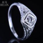 HELON Real 925 Sterling Silver Art Nouveau <b>Antique</b> <b>Jewelry</b> Semi Mount Round Cut 3.5-4mm Filigree Trendy Women Ring Prong Set