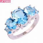 JROSE Engagement <b>Art</b> <b>Deco</b> Created Blue CZ Silver Plated Ring Size 6 7 8 9 10 11 12 13 Wholesale For WomenMen <b>Jewelry</b> Gorgwous