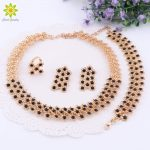 African Beads Black Crystal Necklace Earrings Rings Bracelet <b>Jewelry</b> Sets For Women Gold Color Wedding <b>Accessories</b>