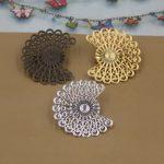 50pcs/Lot 38*33mm flower pedal Brooches <b>Antique</b> Bronze/Silver/Gold vintage cabochon pin base blank settings diy handmade <b>jewelry</b>