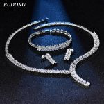 BUDONG Authentic Luxury Bridal <b>Jewelry</b> Sets Wedding Necklace Earrings Bracelet For Brides Engagement Women <b>Accessories</b> XUT802