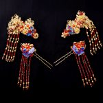 Chinese Wedding <b>Jewelry</b> Sets Headdress Classical Bridal Hair <b>Accessories</b> Gold Color Red Crystal Hairclips Hairpins Step Shake