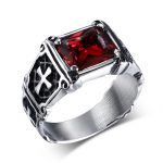 LINSOIR 2017 New <b>Antique</b> Black Red Natural Stone Rings for Men Punk Vintage Stainless Steel Cross Male Ring <b>Jewelry</b> Bague