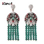 Kinel Luxury Natural Stone Big Tassel Earrings For Women <b>Antique</b> Gold Color Handmade Fashion Exaggerate Crystal Vintage <b>Jewelry</b>