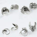 Tibetan <b>Antique</b> Silver Plated Boho <b>Jewelry</b> Rings For Women Punk animal avatars finger ring 12pcs/set