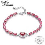 JewelryPalace 10.8ct Red Created Rubies Link Bracelet Pure 925 Sterling Silver <b>Jewelry</b> For Women Brand New Classics <b>Accessories</b>