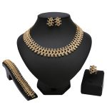 Fashion indian <b>Jewelry</b> Sets Nigerian African Beads Mother's Day gift Dubai Golden Necklace Earrings <b>Accessories</b> wholesale