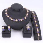 Elegant Luxury Design New Fashion Gold Color Blue Austrian Crystal Necklace Earring Wedding <b>Accessories</b> Royal Blue <b>Jewelry</b> Set