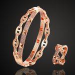 Zlxgirl <b>jewelry</b> brand AAA Cubic Zircon bangle ring Sets for women bridal <b>accessory</b> sets brand copper bangle sets 2201100190