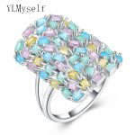 New Hot spring multi colorful rings for women aneis rectangle zirconia <b>jewelry</b> Luxury <b>Accessories</b> Fashion jewellery ring