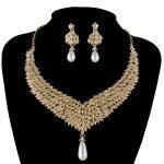 Gold Metal Plated necklace earrings Bridal Wedding <b>jewelry</b> sets Women Party <b>Jewelry</b> <b>accessories</b> Rhinestone pearl Earrings sets