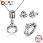 BAMOER 925 Sterling Silver <b>Jewelry</b> Set My Princess Queen Crown & CZ <b>Jewelry</b> Sets Wedding Engagement <b>Jewelry</b> <b>Accessories</b> ZHS008