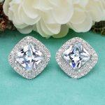 BELLA Fashion 925 Sterling Silver Bridal Earrings Large Rhombic Cubic Zircon Stud Earrings Wedding <b>Accessories</b> Party <b>Jewelry</b>