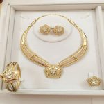 Customized <b>Jewelry</b> Sets For Women Party <b>Accessories</b> African Imitated Crystal Necklace Earrings Bracelet Rings Set Wedding Bridal
