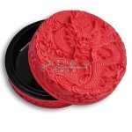 Exquisite Chinese Flower Red Cinnabar Artificial Lacquer Dragon <b>Jewelry</b> Box / 3 inch