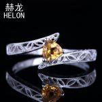 Solid 10K White Gold 4.5mm Trillion Cut 100% Genuine Citrine Engagement Fine Ring Vintage <b>Art</b> <b>Deco</b> <b>Jewelry</b> Wedding Women Ring
