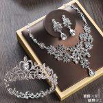 Bridal <b>Jewelry</b> Sets for Women Girls Kids Round Full Circle Crown Wedding Tiara Necklace Earrings Set Crystal Hair <b>Accessories</b>