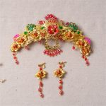 Chinese Classical Wedding <b>Jewelry</b> Sets Bridal Headdress Bride Coronet Handmade Hair <b>Accessories</b> Gold Color Red Crystal Earrings