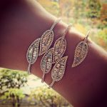 fashion brand <b>jewelry</b> aaa cubic zirconia leaf feather shape T stone open thin hand cuff Bangle for women party <b>accessories</b>