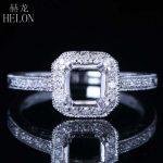 HELON 6mm Round Semi Mount Engagement Diamonds Ring Solid 14k White Gold Vintage <b>Art</b> <b>Deco</b> Style Wedding Ring Fine <b>Jewelry</b> Women