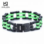 Kalen 22.5cm Stainless Steel Men's Bike Chain Bracelet Fashion <b>Jewelry</b> Green Bicycle Link Chain Bracelet Unique <b>Accessories</b> Gift
