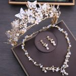 Dower me Charming Floral Bridal Crown Necklace Earrings Set Wedding Prom <b>Accessories</b> Women Gold <b>Jewelry</b> Sets
