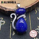 BALMORA Authentic 925 Sterling Silver Cute Cat Pendants for Women Gifts Lapis Lazuli Cat Animal <b>Jewelry</b> <b>Accessories</b> TRS12174