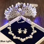 Girls Birthday Party Light Tiara Crown Necklace Earrings <b>Jewelry</b> Sets Wedding Bridal Tiaras <b>Jewelry</b> Women Hair <b>Accessories</b> HG158