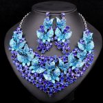 Fashion Butterflies Bridal <b>Jewelry</b> Sets for Brides Statement Necklace Earring Set Party Wedding <b>Accessories</b> Christmas Gift Women