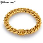 High Quality Stainless Steel Gold Curb Cuban Chain Link Dragon Clasp Bracelets <b>Jewelry</b> Rapper Men Women <b>Accessories</b> Bangles