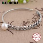 BALMORA Solid 925 Sterling Silver Vintage Simulated Pearl Open Bangles for Women Lover Gift Silver <b>Jewelry</b> <b>Accessories</b> SY50240