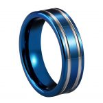 Unique Engagement Rings 8mm Blue Tungsten Carbide Wedding Rings Double Silver Grooved Men Vintage Ring <b>Antique</b> <b>Jewelry</b>