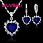YAAMELI Romantic Heart Pendant Crystal 925 Sterling Silver Necklace Loop Earring Wedding <b>Jewelry</b> Sets CZ Cubic Zircon <b>Accessory</b>