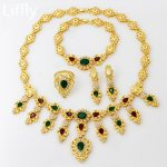 2018 Italian Vintage 24 Gold <b>Jewelry</b> Sets Red Green Crystal Necklace Ring Bracelet Morocco Bride Wedding <b>Jewelry</b> <b>Accessories</b>