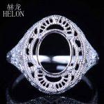 HELON Oval Cut 10X8mm Solid 10k White Gold Semi Mount Setting Engagement Wedding Ring Solitaire <b>Art</b> <b>Deco</b> Women's <b>Jewelry</b> Ring