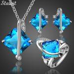 Silver Color Blue Crystal <b>Jewelry</b> Set Women <b>Accessories</b> Square Party Bridal <b>Jewelry</b> Sets