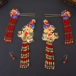 Classical Chinese Wedding <b>Jewelry</b> Sets Headdress Bridal Hair <b>Accessories</b> Gold Color Red Crystal Earrings Hairpins Step Shake