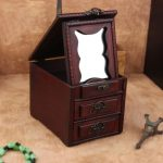 <b>Antique</b> Wooden Dressing Case Retro With Mirror <b>Jewelry</b> Box Make Up Organizer Boxes Desktop Wood Box Desktop Decoration Old tory