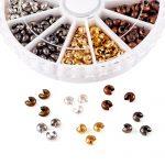 1 Box 6 Colors Iron Crimp Beads Covers, <b>Antique</b> Bronze & Red Copper & Black & Silver & Golden & Platinum, Cadmium & Lead Free