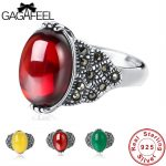 GAGAFEEL <b>Antique</b> Thai Silver Women Rings Fashion Red Yellow Green Natural 925 Sterling Silver <b>Jewelry</b> Female Ring Gifts Dropship